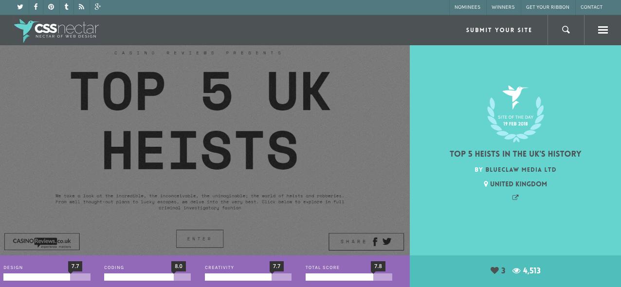 CSS nectar homepage