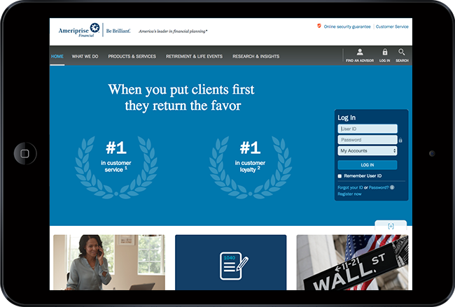 investment website design - ameriprise
