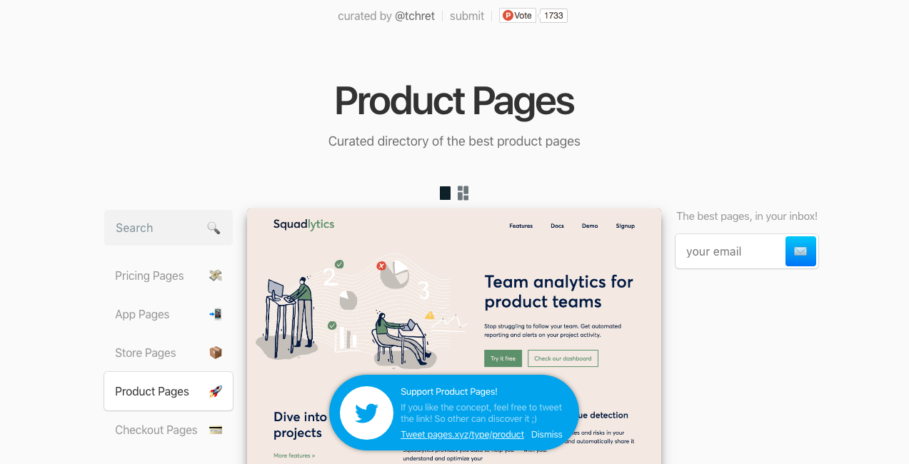 product pages homepage