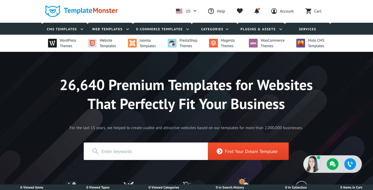 template monster homepage