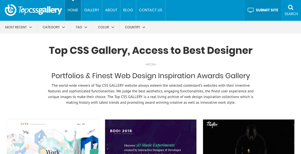 Top CSS Gallery homepage