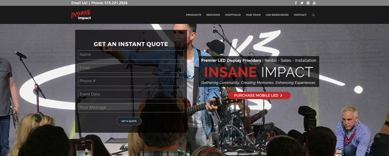 event company - insane impact website