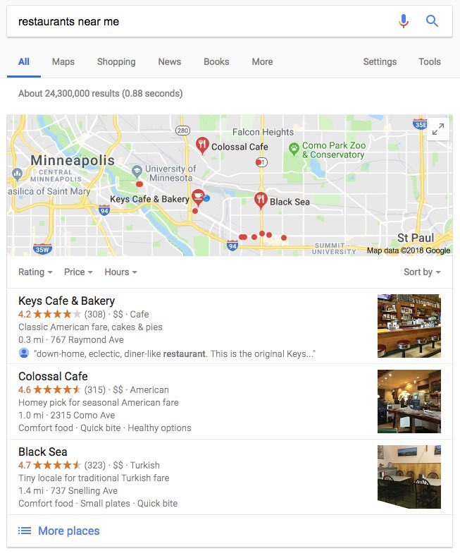local seo minneapolis search result Google map pack example