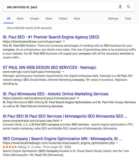 st. paul, mn seo services search result