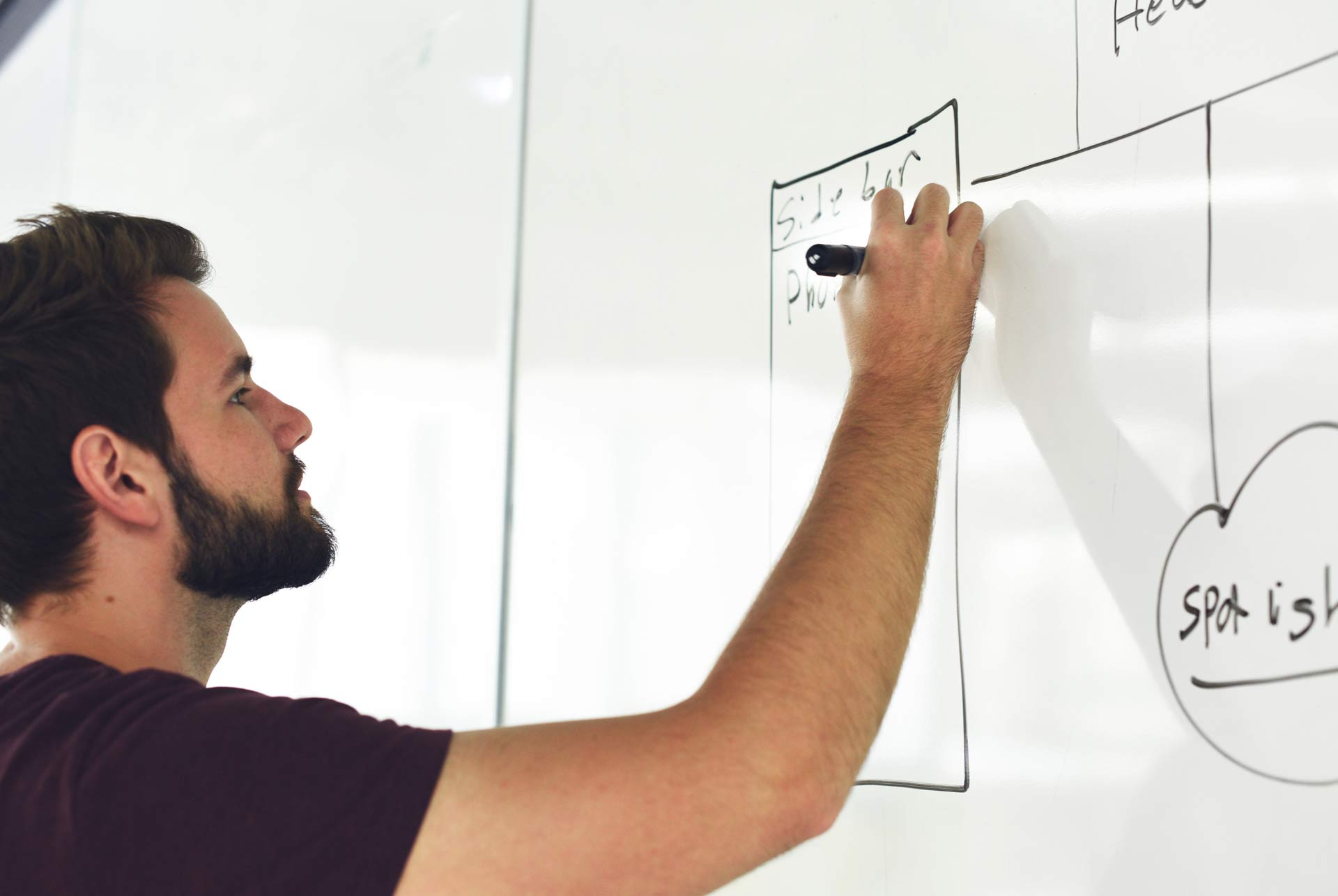 SEO writing website strategy on whiteboard