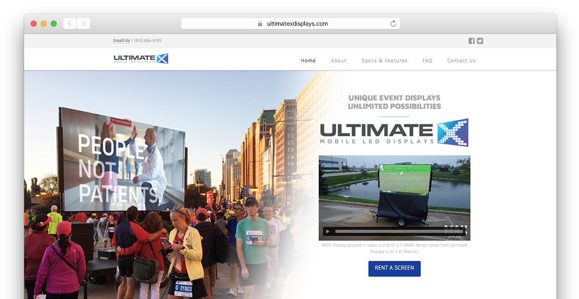 UltimateX Displays homepage in browser