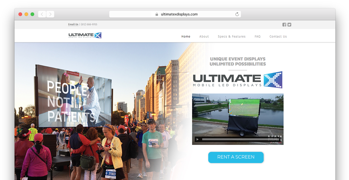 UltimateX Displays Website