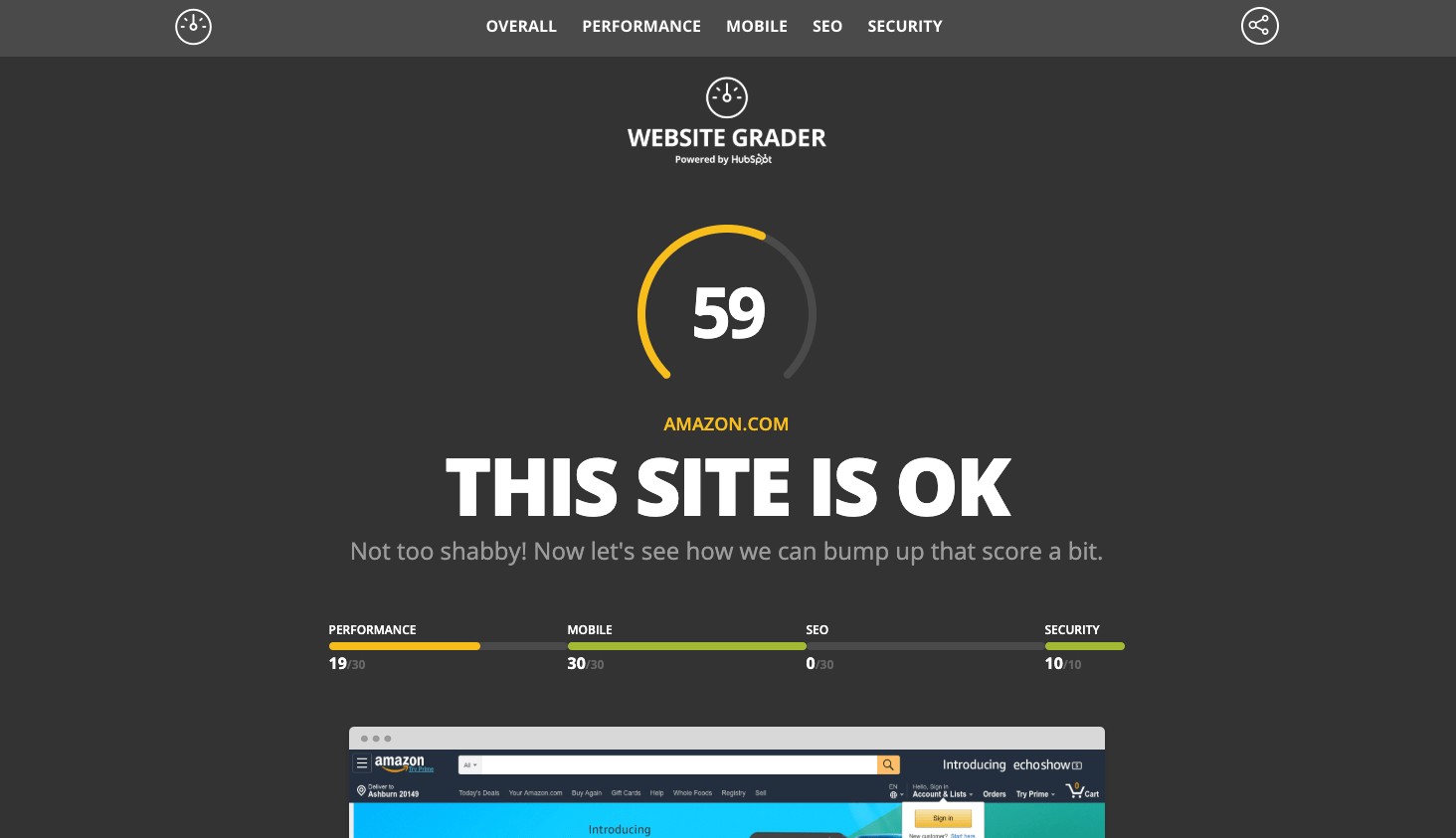 HubSpot Website Grader Results