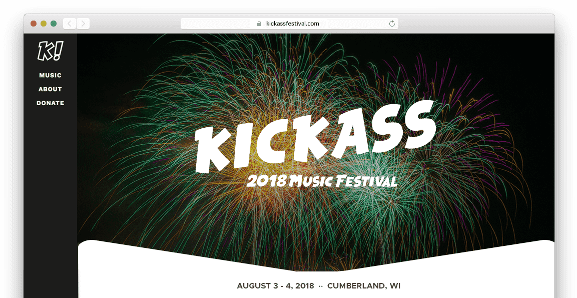 music festival website homepage in browser