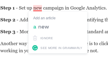 Grammarly spell check example