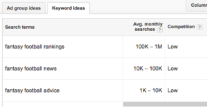 keyword results on Google Keyword Planner