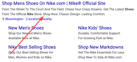 search engine meta description example for Nike.com