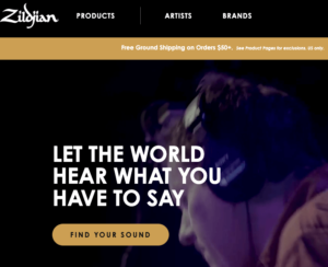 zildjian home page call to action