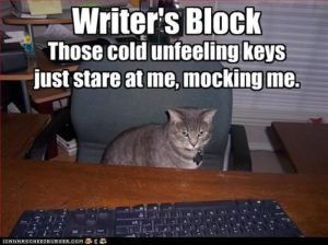 "Writing Block Meme: ""Writer's Block Those Cold Unfeeling Keys Just Stare at Me, Mocking Me."""