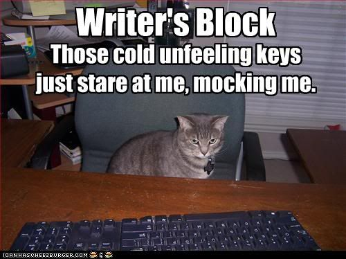"Writing Block Meme: ""Writer's Block Those Cold Unfeeling Keys Just Stare at Me, Mocking Me."""