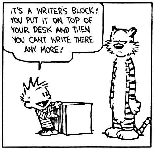 Calvin and Hobbes, writer's block joke comic.