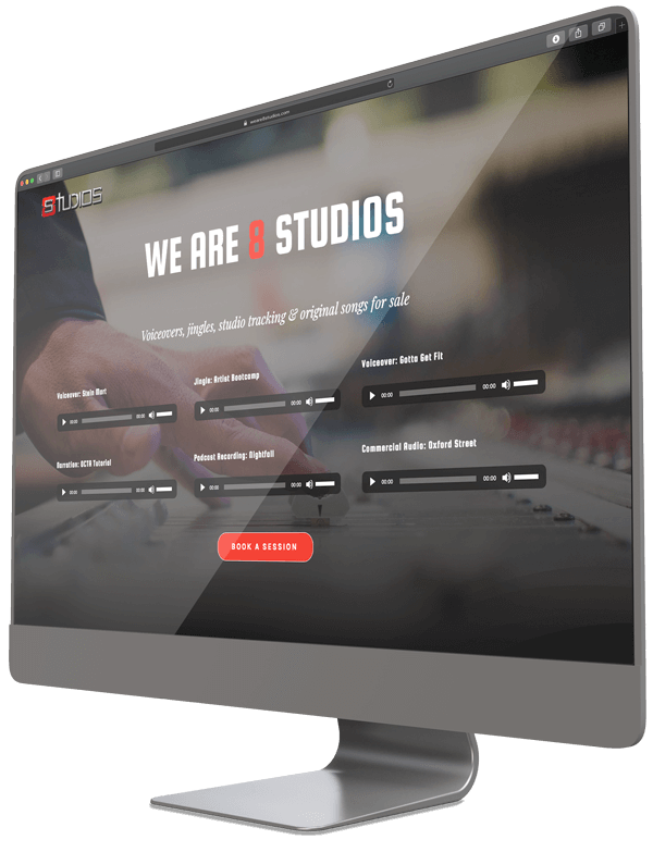 recording studio website on a computer