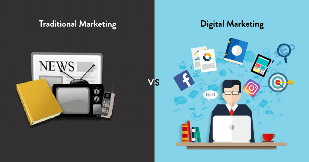 traditional advertisement strategy compared side-by-side with digital marketing strategies