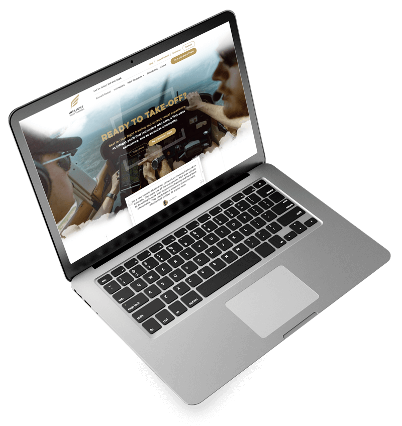 aviation website on laptop computer