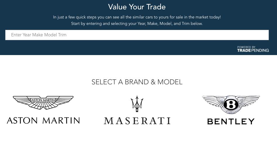 Aston Martin, Mazerrati, Bently logos on a luxury car dealership website
