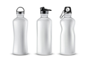 three environmentally friendly water bottles in a row