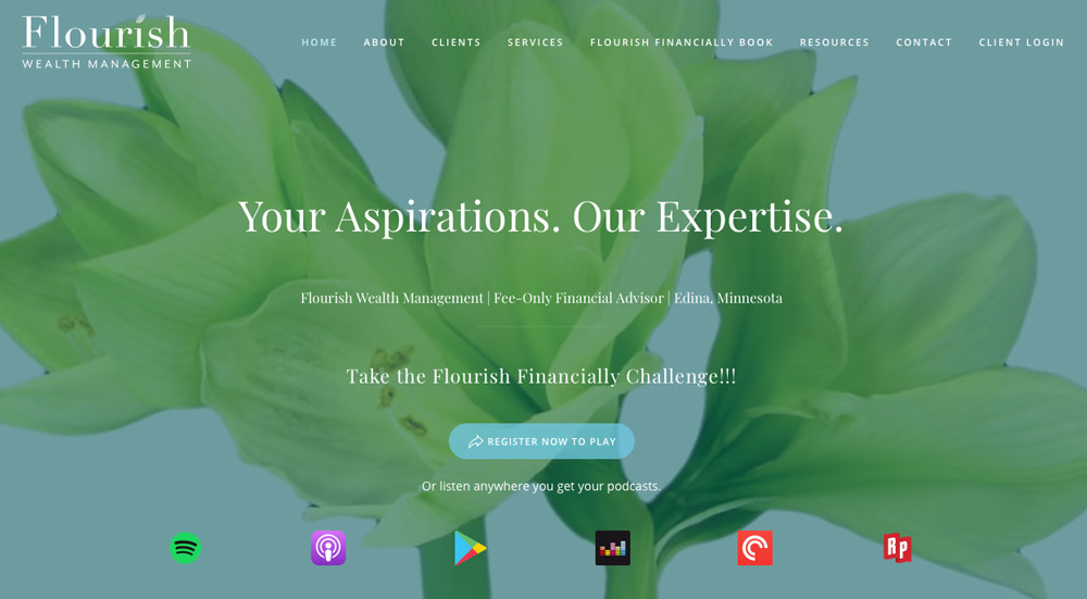 Flourish Wealth Management in Edina – social podcasting section on their website