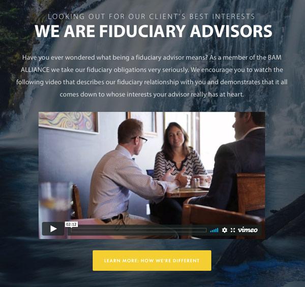 example of marketing video on a fiduciary advisor's website