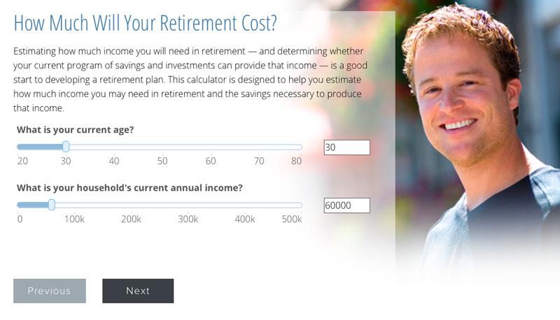 retirement calculator on a financial company website