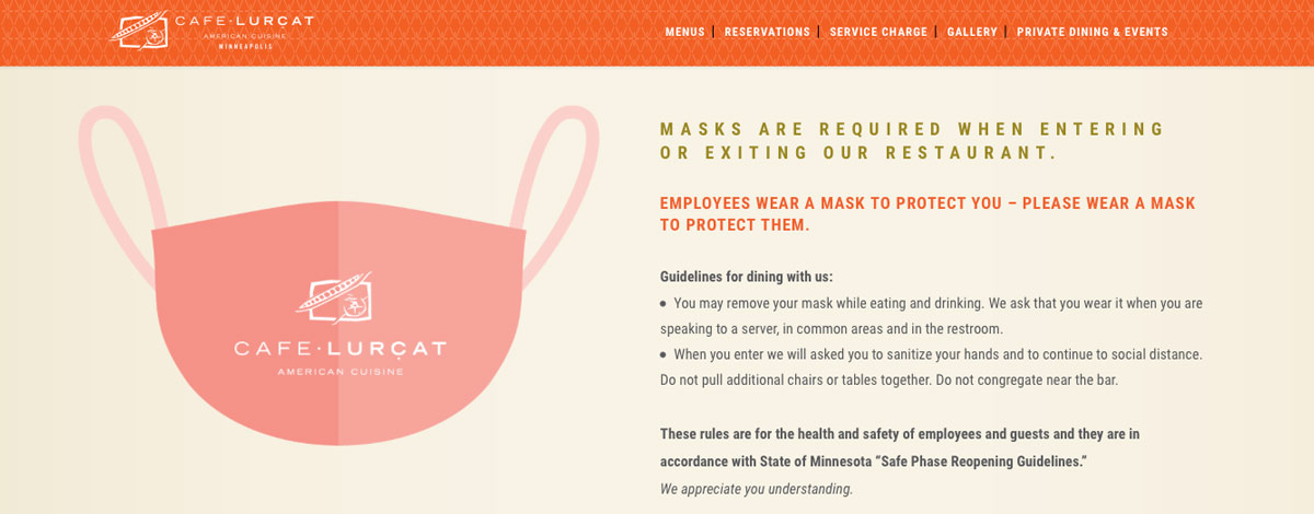 Cafe Lurcat in Minneapolis: Restaurant Health Guidelines on Website