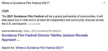Sundance Film Festival Rich Snippets Appearance on Search Engine Results Pages