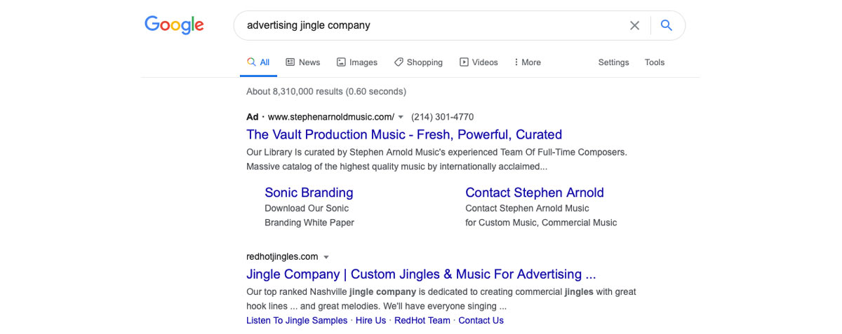 """Google search results for """"Advertising Jingle Company"""" Advertising Example"""