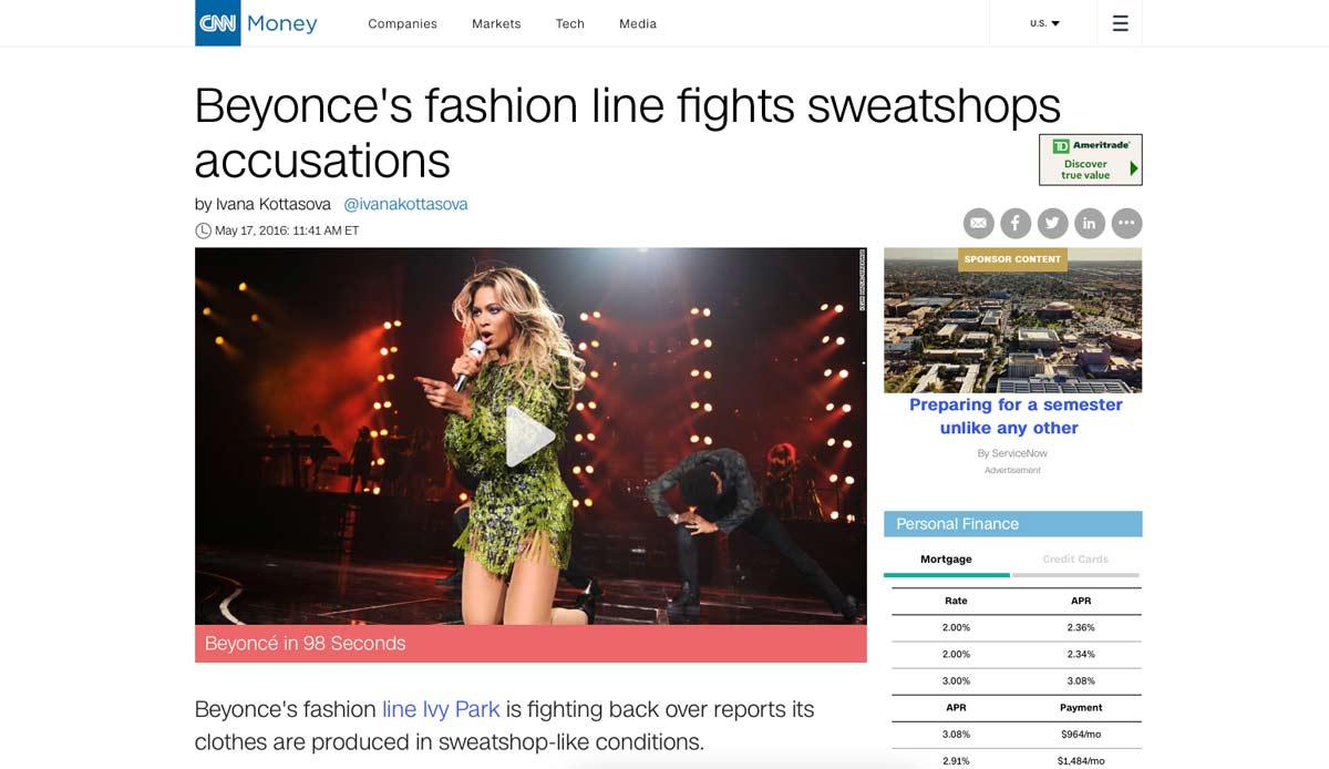 Beyonce clothing line sweatshop allegations response