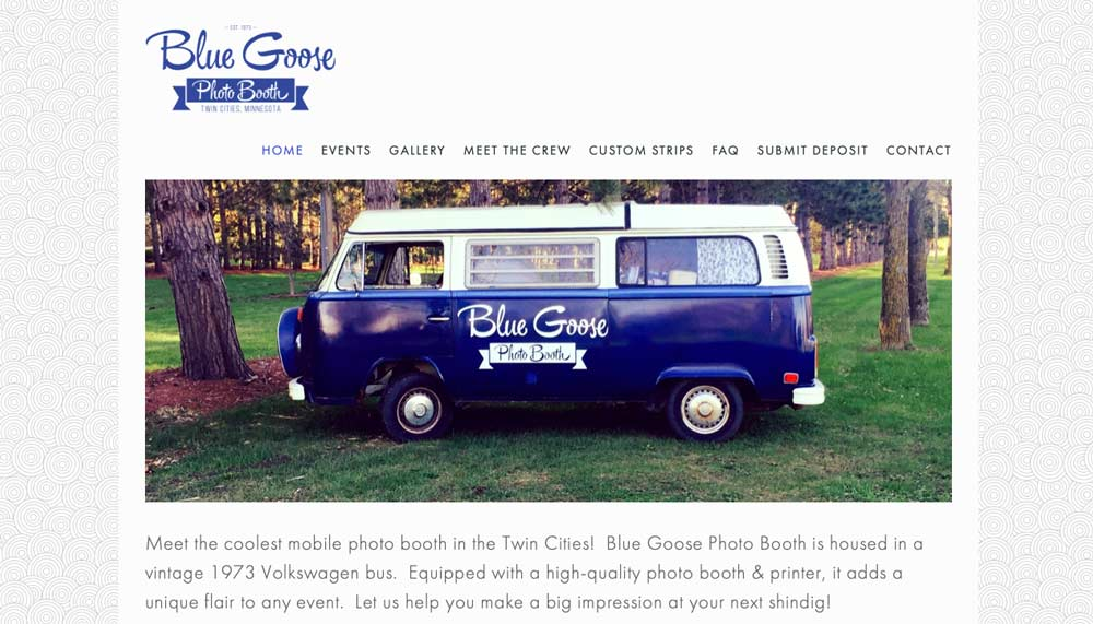 Homepage example of Blue Goose Photo Booth in Richfield, MN