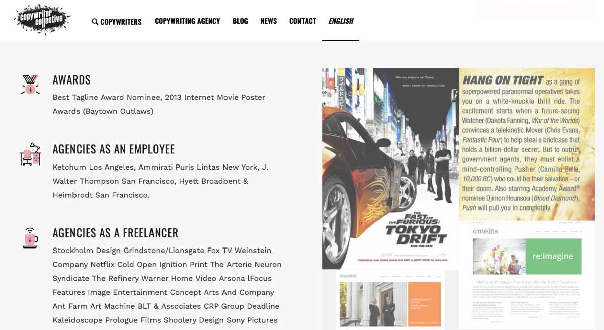 Copywriter awards section on website