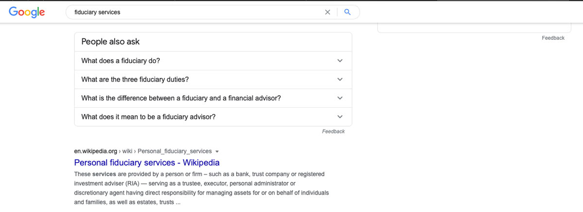 """Google search results for """"Fiduciary Services"""" and knowledge panel example"""