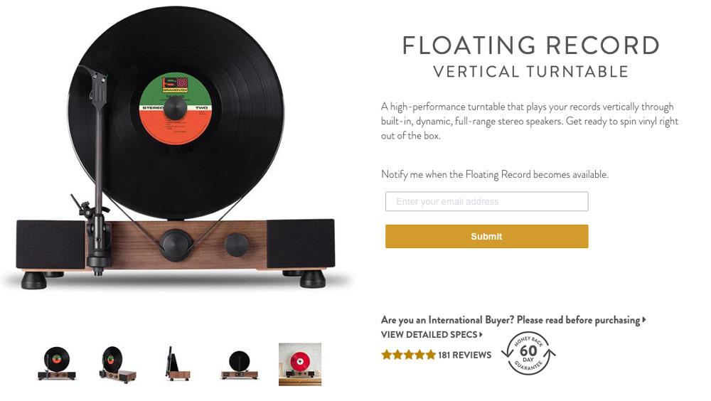 Gramavox Floating Record Product Page Example