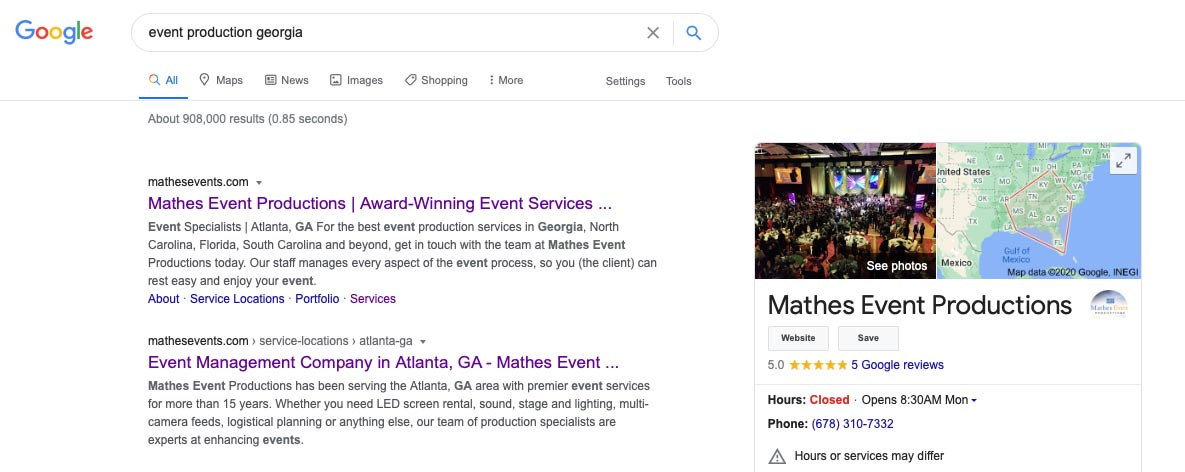 "google search result for ""event production georgia"" keyword"
