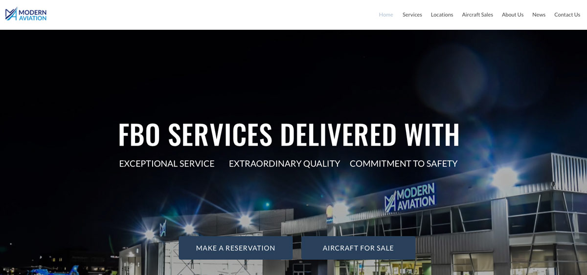 "ModernAviation.com website headline example that reads, ""FBO Services Delivered with Results"""