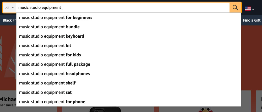 "Similar Amazon Keywords to ""Music Studio Equipment"" search bar example"