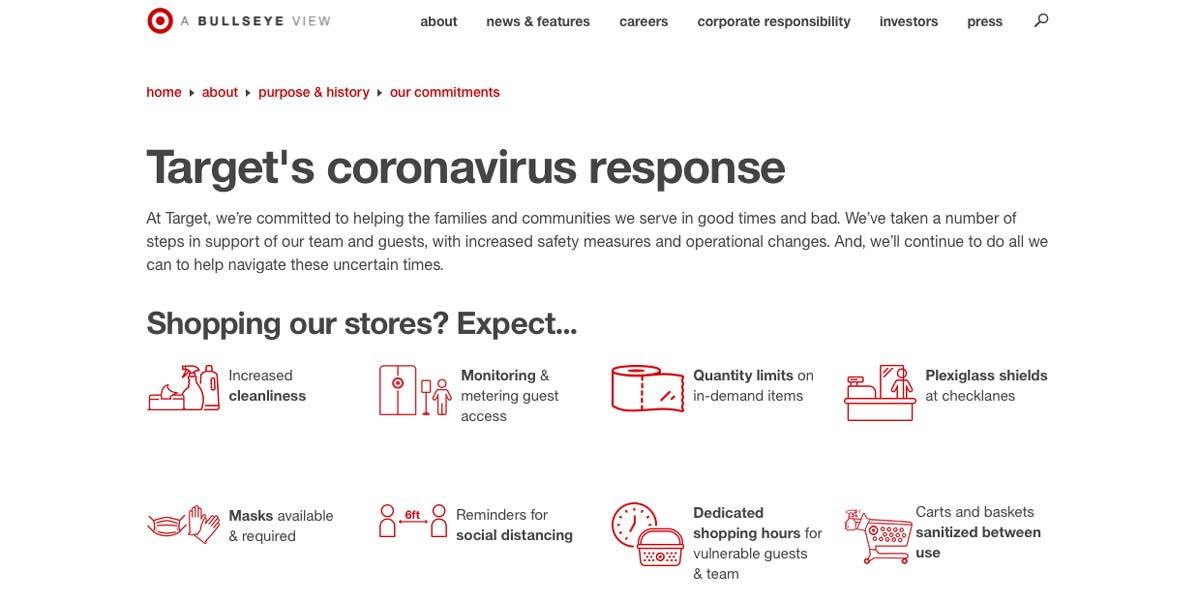 Target's coronavirus response on their website