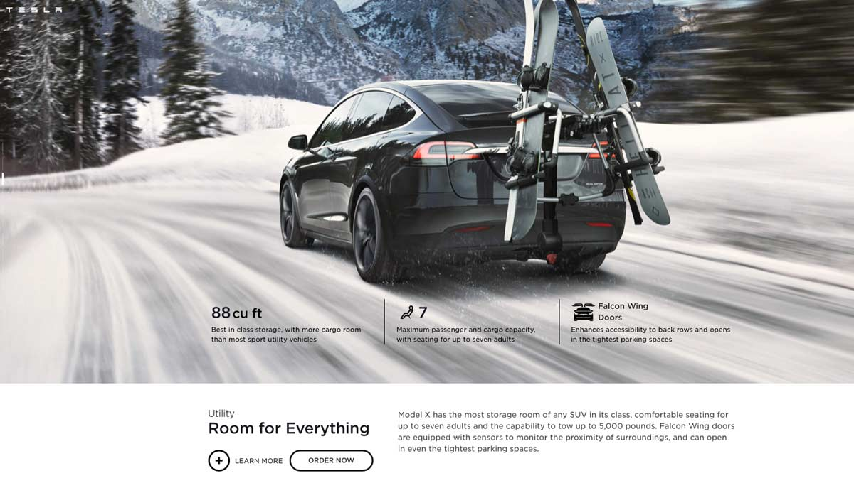 Tesla Model X Product Page Example