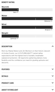 The Northface Futurelight Jacket Product Page Details