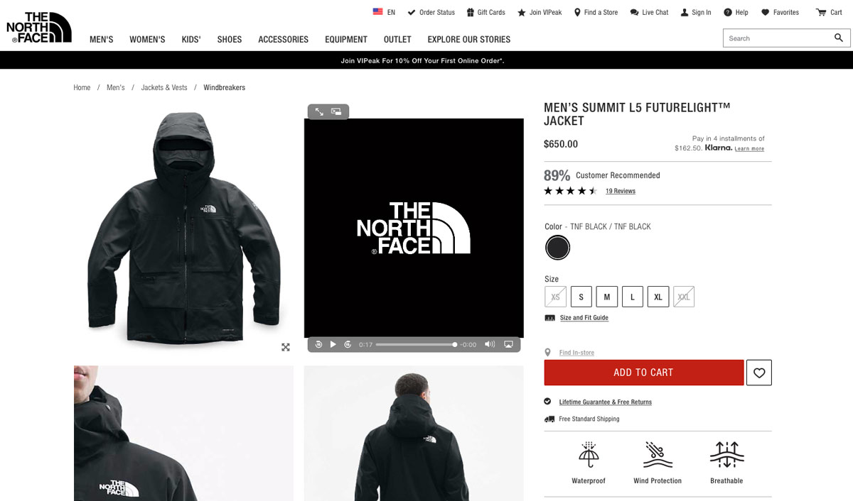 The North Face Men's Summit L5 Futurelight Jacket Product Page Example