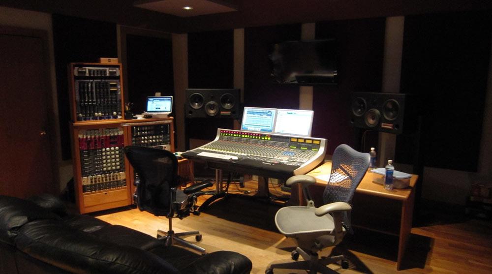 Minneapolis Recording Studio #3: Wild Sound - control room and mixing board and compressor racks