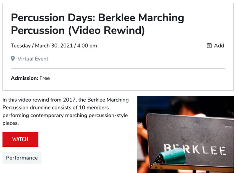 event listing for Berklee College of Music