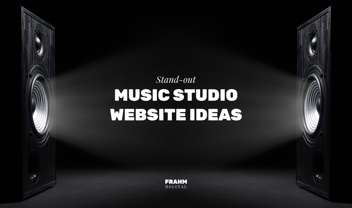 Recording studio website ideas featured image with two speakers