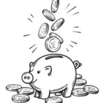 graphic of coins going into piggy bank
