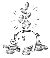 piggy bank with multiple coins