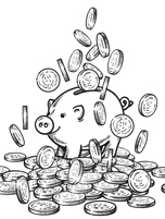 piggy bank next to pile of coins