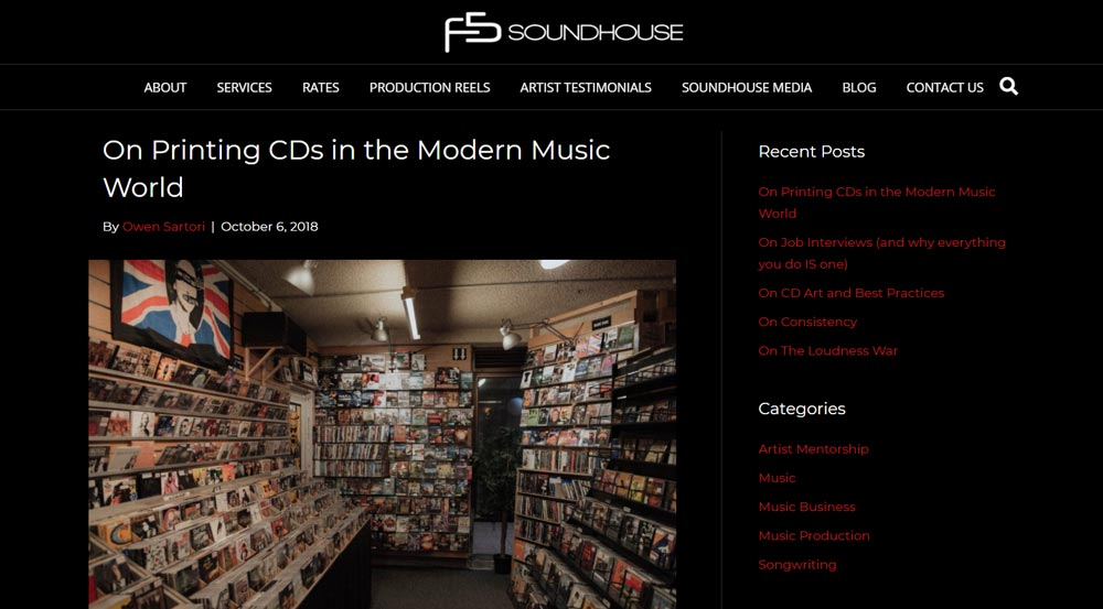 F5 Soundhouse Minneapolis Website Design